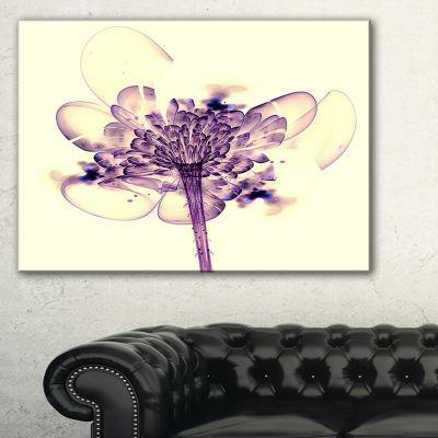 Designart Fractal Flower Light Pink Floral Art Canvas Print - 3 Panels