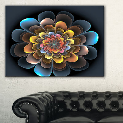 Designart Fractal Flower Macro Close Up Floral ArtCanvas Print - 3 Panels