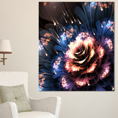 Designart Fractal Flower Orange And Blue Floral Art Canvas Print