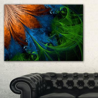 Designart Fractal Flower Orange And Blue Floral Art Canvas Print - 3 Panels