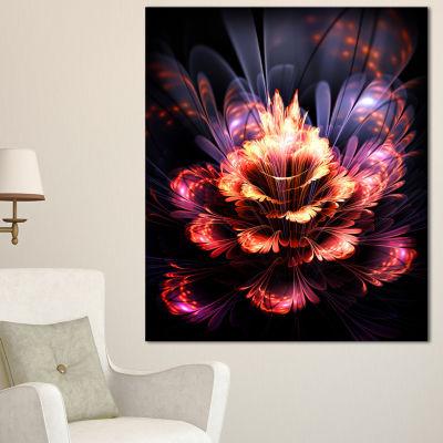 Designart Fractal Flower Orange And Purple FloralArt Canvas Print - 3 Panels