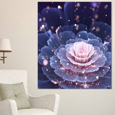 Designart Fractal Flower Pink And Gray Floral ArtCanvas Print - 3 Panels