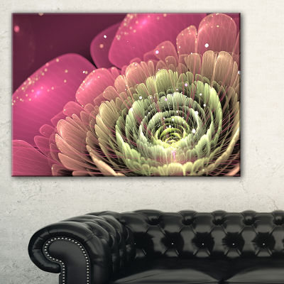 Designart Fractal Flower Pink And Green Floral ArtCanvas Print - 3 Panels