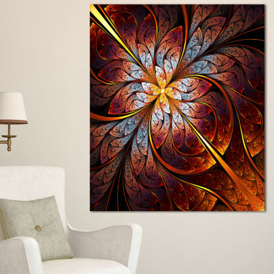 Designart Fractal Flower Red And Blue Floral ArtCanvas Print - 3 Panels