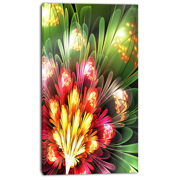Designart Fractal Flower Red And Green Floral ArtCanvas Print