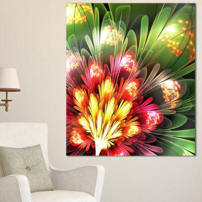 Designart Fractal Flower Red And Green Floral ArtCanvas Print - 3 Panels
