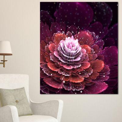Designart Fractal Flower Red And White Floral ArtCanvas Print - 3 Panels