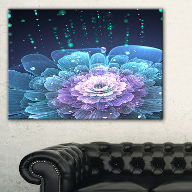 Designart Fractal Flower With Water Drops FloralArt Canvas Print