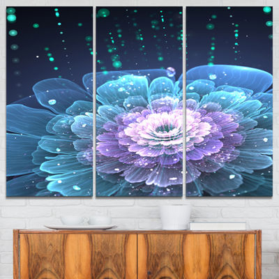 Designart Fractal Flower With Water Drops FloralArt Canvas Print - 3 Panels