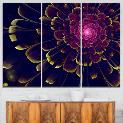 Designart Fractal Flower With Yellow Details Floral Art Canvas Print - 3 Panels