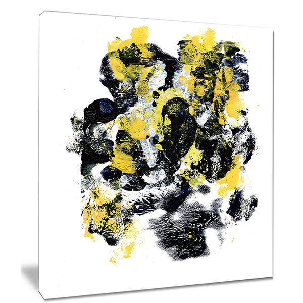 Designart Fractal Golden Black Structure AbstractCanvas Art Print
