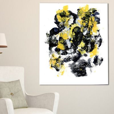Designart Fractal Golden Black Structure AbstractCanvas Art Print - 3 Panels