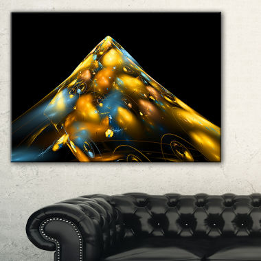 Designart Fractal Golden Blue Structure Abstract Canvas Art Print