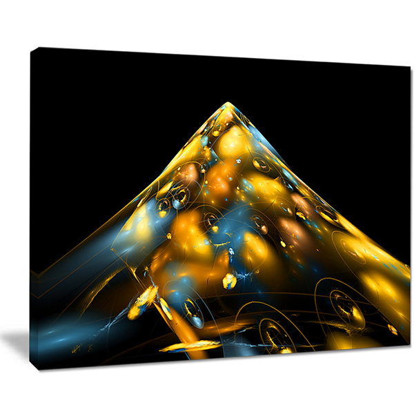 Designart Fractal Golden Blue Structure AbstractCanvas Art Print