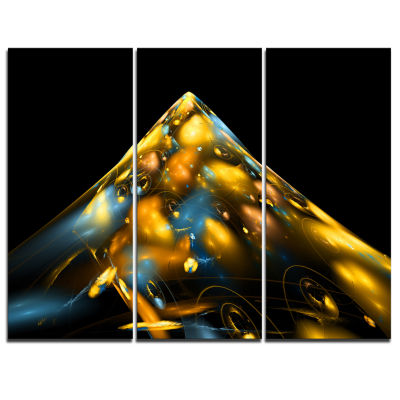 Designart Fractal Golden Blue Structure Abstract Canvas Art Print - 3 Panels