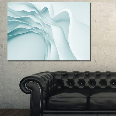 Designart Fractal Large Blue 3D Waves Abstract Canvas Art Print - 3 Panels