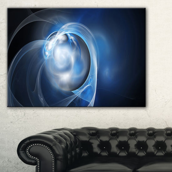 Designart Fractal Lighting In Dark Blue AbstractCanvas Art Print