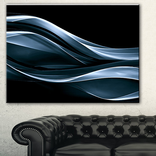 Designart Fractal Lines Blue In Black Abstract Canvas Art Print