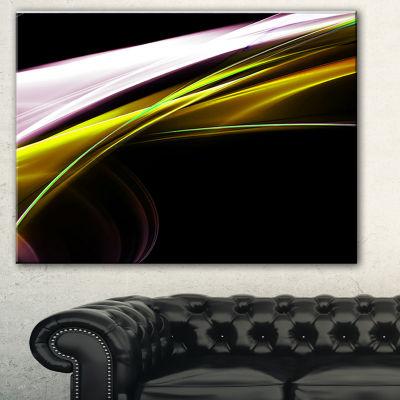 Designart Fractal Lines Golden White Abstract Canvas Art Print
