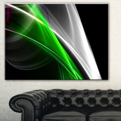 Designart Fractal Lines Green White Abstract Canvas Art Print - 3 Panels