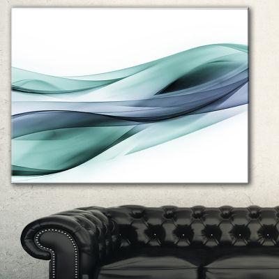 Designart Fractal Lines Grey Blue Abstract CanvasArt Print