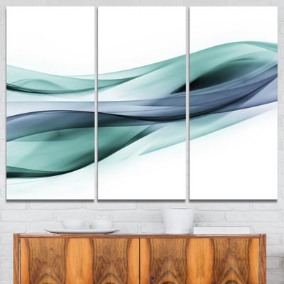 Designart Fractal Lines Grey Blue Abstract CanvasArt Print - 3 Panels