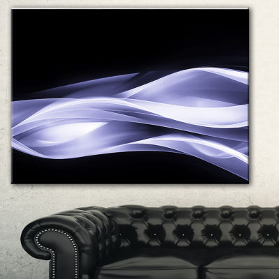 Designart Fractal Lines Purple In Black AbstractCanvas Art Print