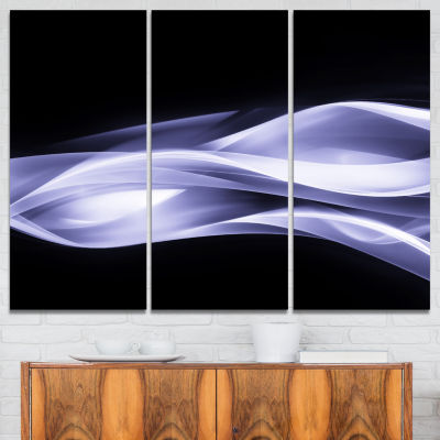 Designart Fractal Lines Purple In Black Abstract Canvas Art Print - 3 Panels