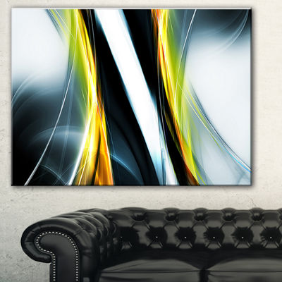 Designart Fractal Lines Yellow White Abstract Canvas Art Print