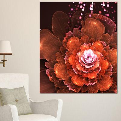 Designart Fractal Orange Flower Floral Art CanvasPrint