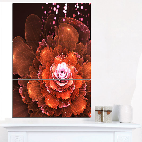 Designart Fractal Orange Flower Floral Art CanvasPrint - 3 Panels