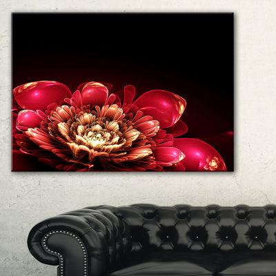Designart Fractal Pink Flower Floral Art Canvas Print - 3 Panels