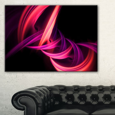 Design Art Fractal Purple Connected Stripes Abstract Canvas Art Print
