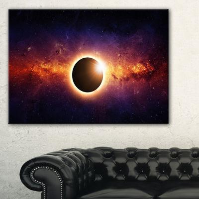 Designart Full Eclipse View Large Spacescape Canvas Art Print - 3 Panels