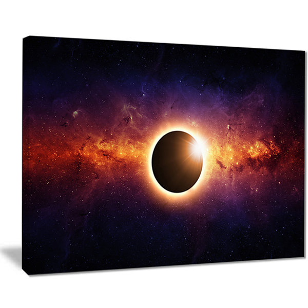 Designart Full Eclipse View Spacescape Canvas ArtPrint