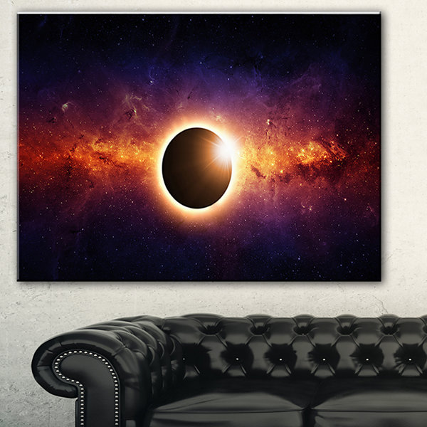Designart Full Eclipse View Spacescape Canvas ArtPrint - 3 Panels