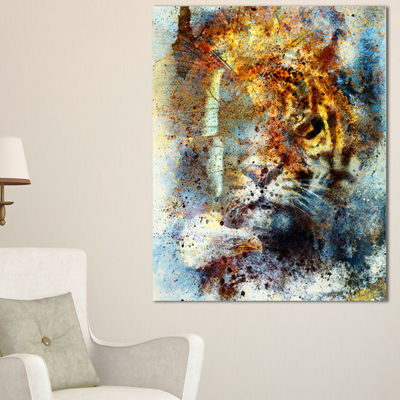 Designart Gentle Tiger Portrait Animal Canvas ArtPrint - 3 Panels