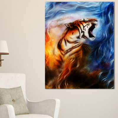Designart Gentle Tiger Portrait Collage Animal Canvas Art Print