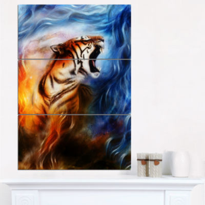 Designart Gentle Tiger Portrait Collage Animal Canvas Art Print - 3 Panels