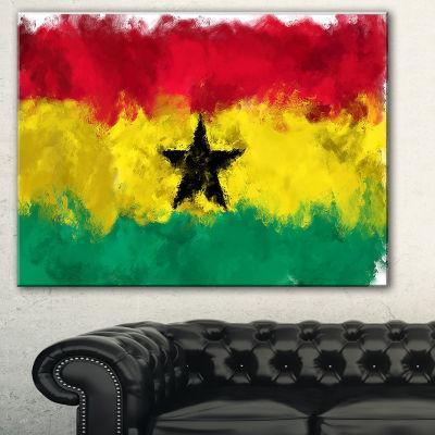 Designart Ghana Flag Illustration Flag Painting Canvas Print