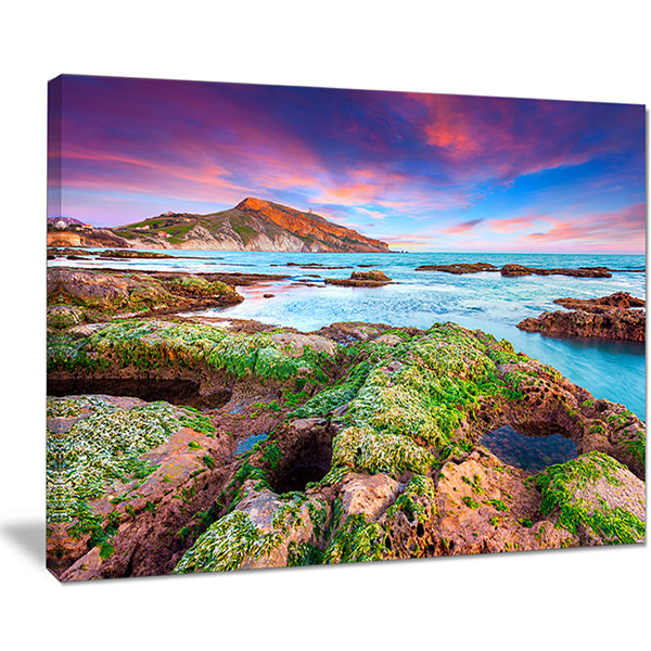 Designart Giallonardo Beach Spring Sunset SeashorePhoto Canvas Print