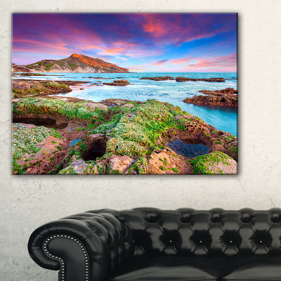 Designart Giallonardo Beach Spring Sunset SeashorePhoto Canvas Print - 3 Panels