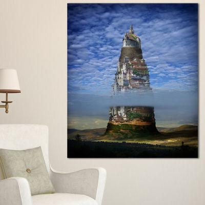 Designart Gigantic Castle Collage Landscape CanvasArt Print - 3 Panels