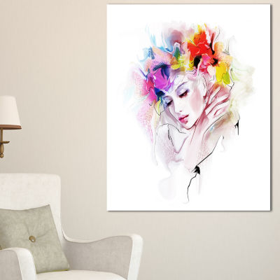 Designart Girl With Flowers Wreath Abstract Portrait Canvas Print - 3 Panels