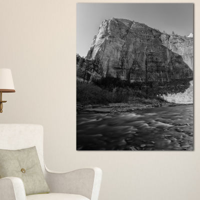 Designart Glow Of Morning Dark Landscape Photography Canvas Art Print - 3 Panels