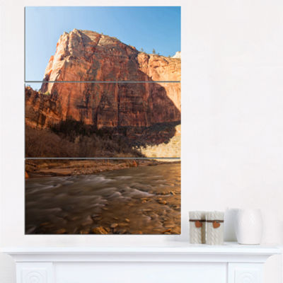 Designart Glow Of Morning Landscape Photography Canvas Art Print - 3 Panels