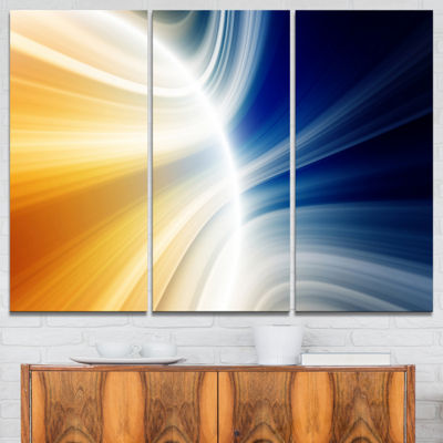 Designart Glowing Abstract Lines Abstract CanvasArt Print - 3 Panels