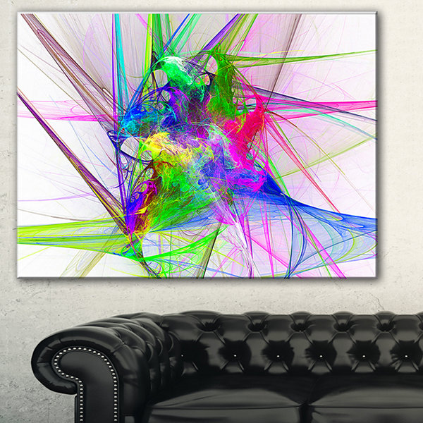 Designart Glowing Ball Of Smoke Abstract Canvas Art Print - 3 Panels