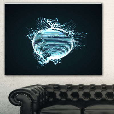 Designart Glowing Blue 3D Sphere Abstract CanvasArt Print - 3 Panels