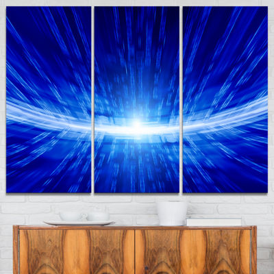 Designart Glowing Blue Lines Abstract Canvas ArtPrint - 3 Panels